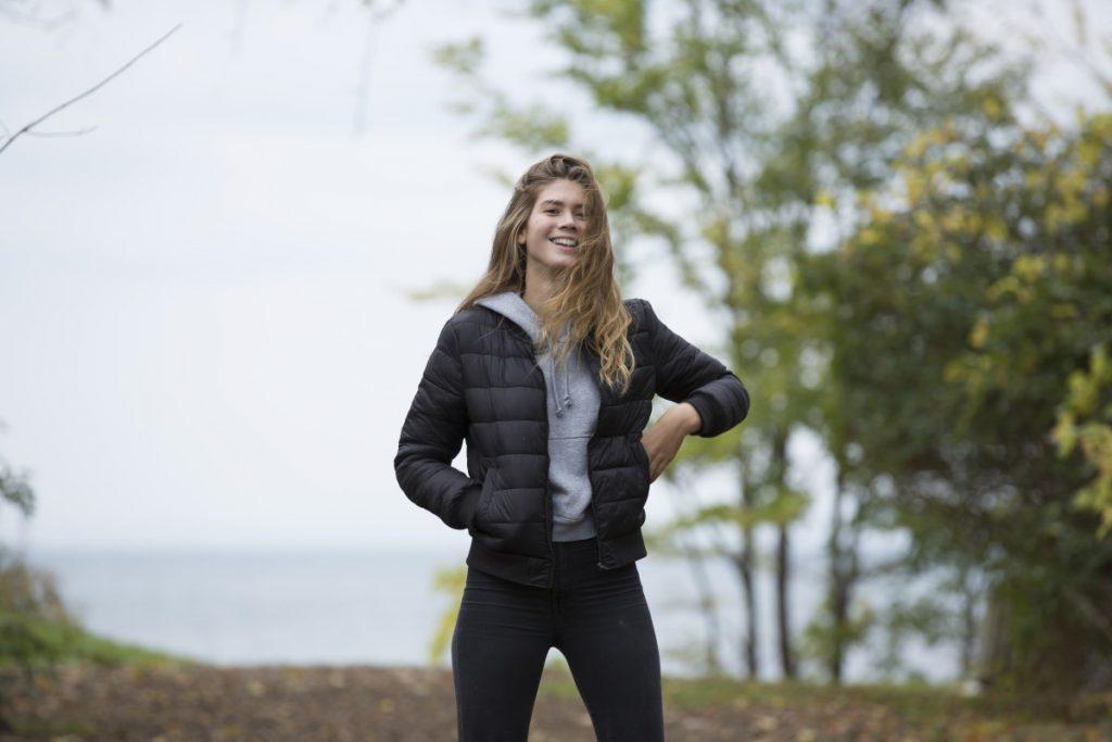 Girl hiking outside